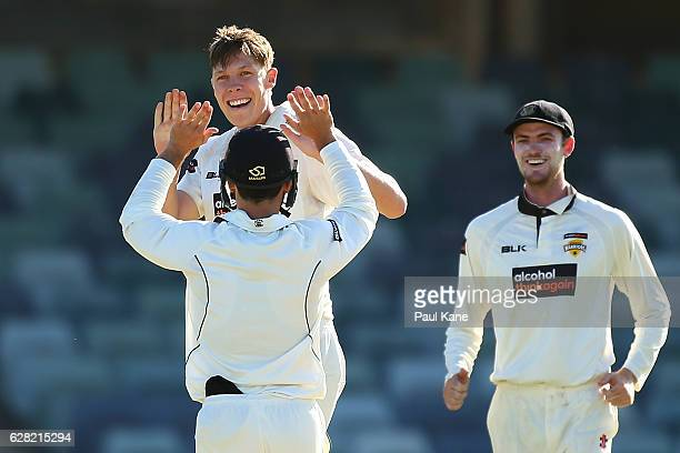 Simon Mackin of Western Australia celebrates the wicket of Mitch Swepson of Queensland during day three of the Sheffield Shield match between Western...