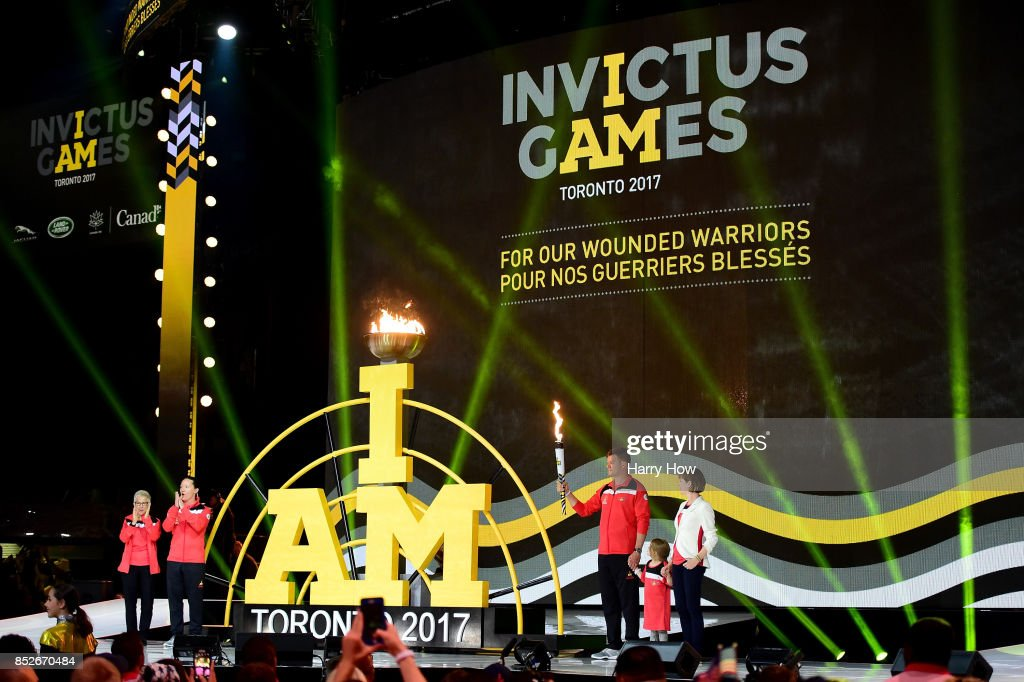 Simon Mailloux of Canada lights the cauldron during the opening ceremony of the 2017 Invictus Games at Air Canada Centre on September 23, 2017 in Toronto, Canada.The Invictus Games is the only international sporting event for wounded, injured and sick servicemen and Women (WIS). This year's games will bring together 550 competitors from 17 nations.
