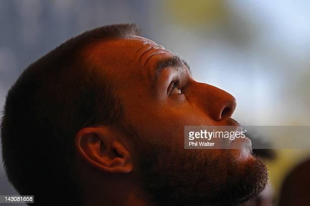 Simon Mannering of the Kiwis looks up during a press conference ahead of the ANZAC Rugby League Test at Eden Park on April 19 2012 in Auckland New...