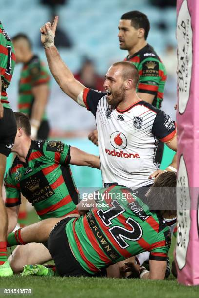 Simon Mannering of the Warriors celebrates scoring a try during the round 24 NRL match between the South Sydney Rabbitohs and the New Zealand...