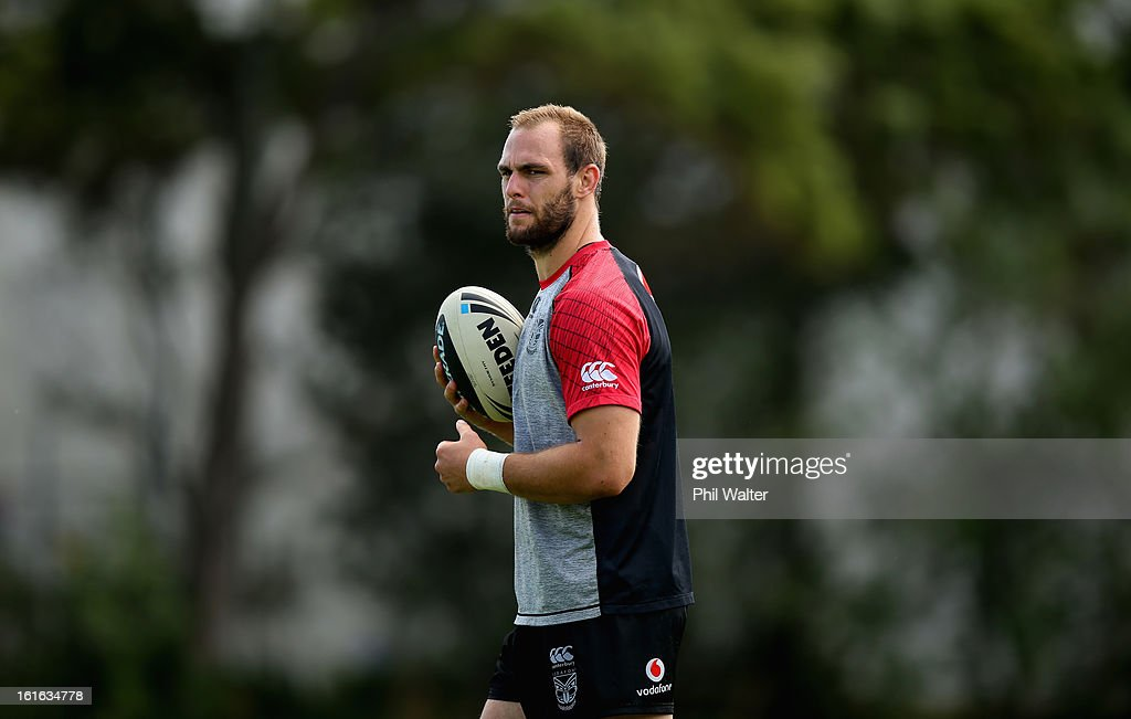 Simon Mannering of the Warriors during a New Zealand Warriors NRL training session at Mt Smart Stadium on February 14, 2013 in Auckland, New Zealand.
