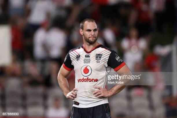 Simon Mannering of the Warriors looks dejected after defeat during the round four NRL match between the St George Illawarra Dragons and the New...