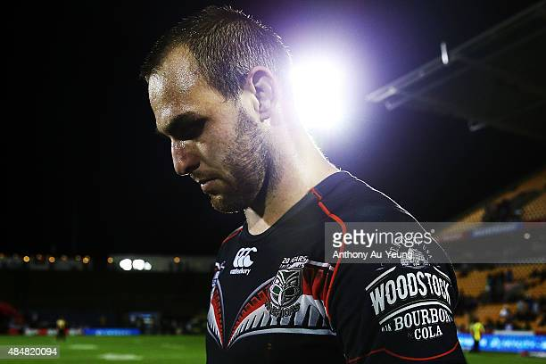 Simon Mannering of the Warriors looks dejected after losing the round 24 NRL match between the New Zealand Warriors and the North Queensland Cowboys...