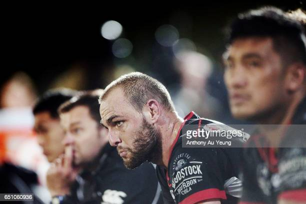 Simon Mannering of the Warriors looks on during the round two NRL match between the New Zealand Warriors and the Melbourne Storm at Mt Smart Stadium...