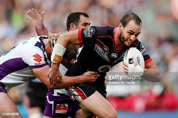 Simon Mannering of the Warriors on the charge during the round three NRL match between the New Zealand Warriors and the Melbourne Storm at Mt Smart...