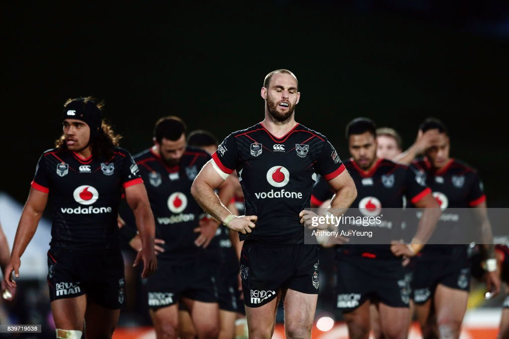 Simon Mannering of the Warriors reacts during the round 25 NRL match between the New Zealand Warriors and the Manly Sea Eagles at Mt Smart Stadium on August 27, 2017 in Auckland, New Zealand.