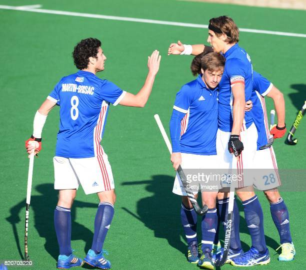 Simon Martin Brisac and Victor Charlet of France celebrate during day 8 of the FIH Hockey World League Men's Semi Finals 7th8th place match between...