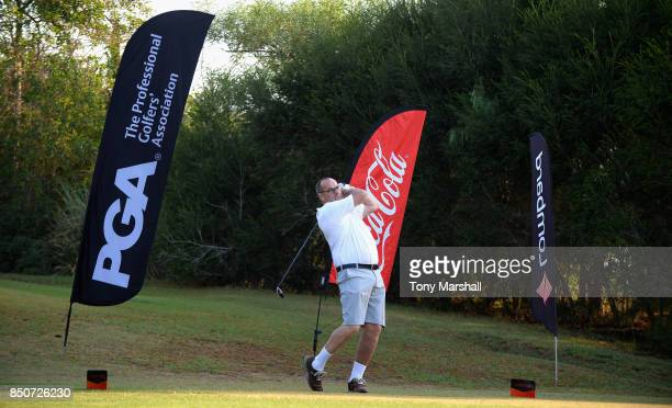 Simon Matthews of Low Laithes Golf Club plays his first shot on the 1st tee during The Lombard Trophy Final Day One on September 21 2017 in Albufeira...