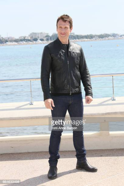 Simon Merrells attends 'Knightfall' photocall during MIPTV 2017 on April 4 2017 in Cannes France