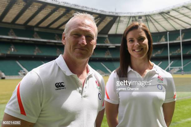 Simon Middleton head coach of England Women's Rugby and Sarah Hunter captain of England Women's Rugby pose for a portrait after England Women's Rugby...