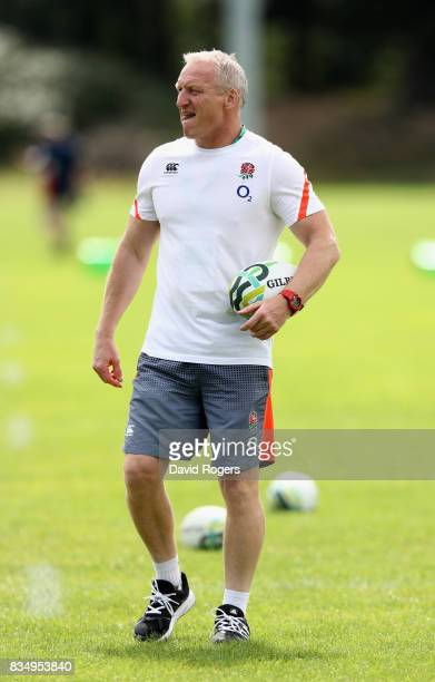 Simon Middleton the England head coach looks on during the Women's Rugby World Cup Pool B match between England and USA at Billings Park UCB during...