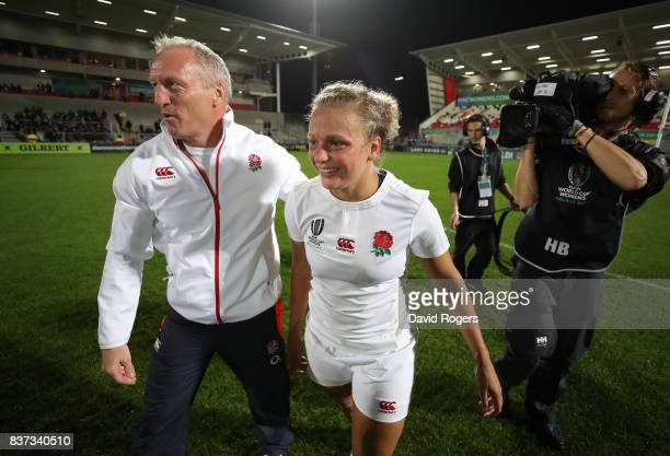 Simon Middleton the head coach of England and Kay Wilson of England celebrate following their team's 203 victory during the Women's Rugby World Cup...