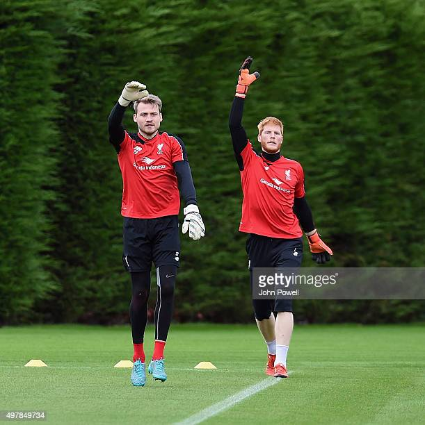 Simon Mignolet and Adam Bogdan of Liverpool during a training session at Melwood Training Ground on November 19 2015 in Liverpool England