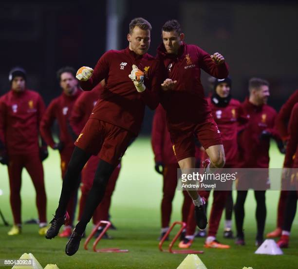 Simon Mignolet and James Milner of Liverpool during a training session at Melwood Training Ground on November 27 2017 in Liverpool England
