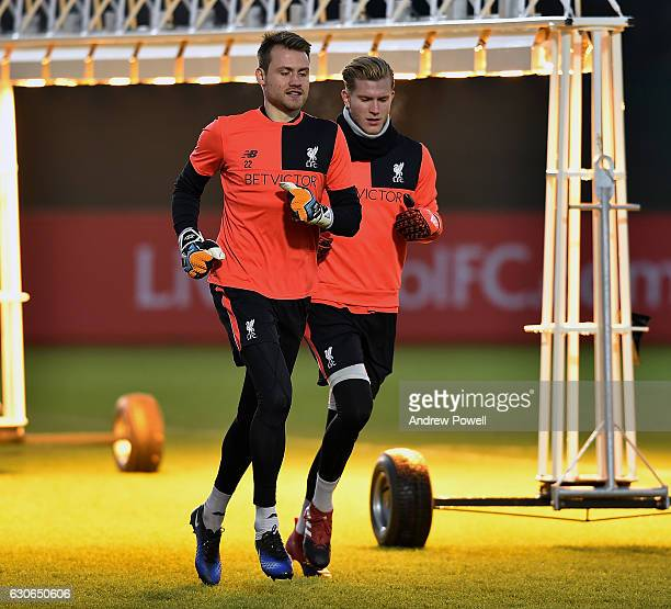 Simon Mignolet and Loris Karius of Liverpool during a training session at Melwood Training Ground on December 29 2016 in Liverpool England