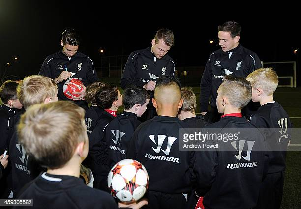 Simon Mignolet Brad Jones and Danny Ward of Liverpool during the Liverpool Adacemy Day at The Academy on November 20 2014 in Liverpool England