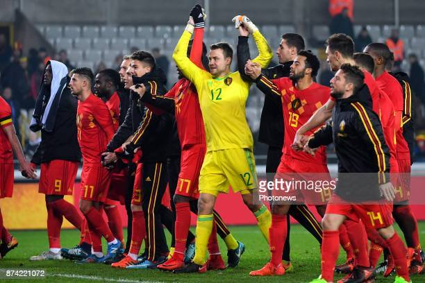 Simon Mignolet goalkeeper of Belgium celebrates during the World Cup Friendly Preparation match between Belgium and Japan on November 14 2017 in...