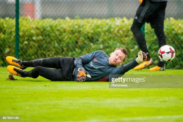 Simon Mignolet goalkeeper of Belgium during a training session of the National Soccer Team of Belgium prior to the World Cup 2018 qualification games...