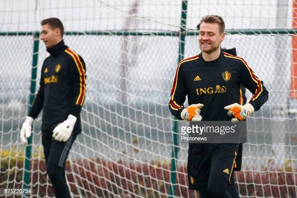 Simon Mignolet goalkeeper of Belgium during the press conference and training session of the Red Divels at the national training center on November...
