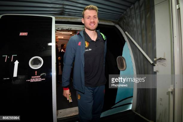 Simon Mignolet goalkeeper of Belgium pictured during the arrival of the National Soccer Team of Belgium prior to the 2018 World Cup qualifier against...