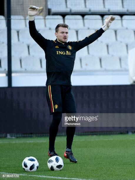 Simon Mignolet goalkeeper of Belgium pictured during training session of the Belgian National Football Team prior to the friendly match against Japan...