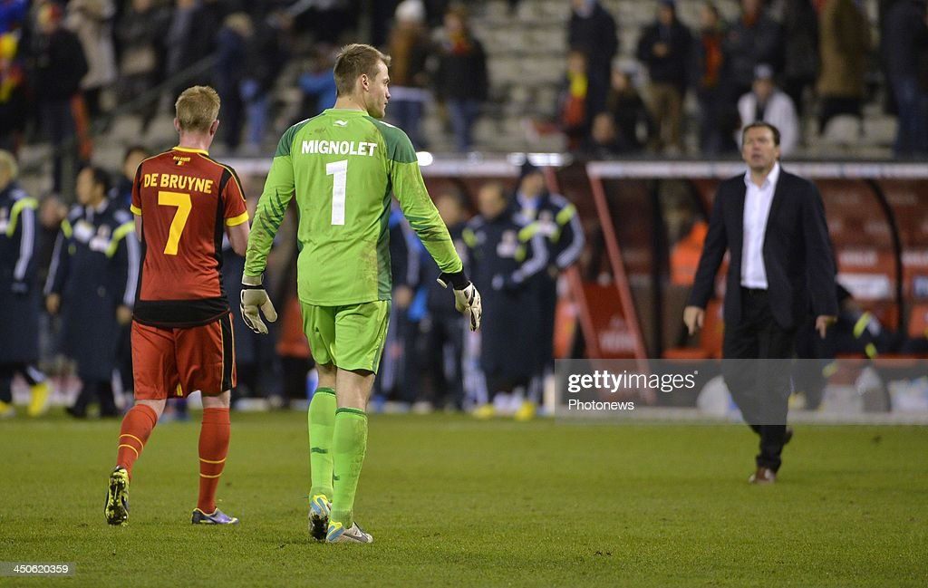 Simon Mignolet goalkeeper of Liverpool FC pictured during the international friendly match before the World Cup in Brasil between Belgium and Japan on November 19, 2013 in Brussels, Belgium