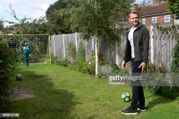 Simon Mignolet goalkeeper of Liverpool FC visits Noah a Liverpool fan who won a contest on social media with the name quick hands on August 09 2017...