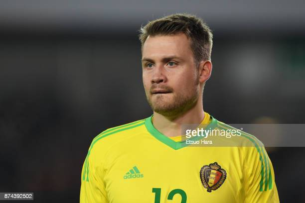 Simon Mignolet of Belgium looks on during the international friendly match between Belgium and Japan at Jan Breydel Stadium on November 14 2017 in...