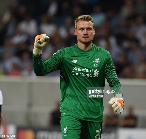 Simon Mignolet of Liverpool after Saving A Penalty during the UEFA Champions League Qualifying PlayOffs Round First Leg match between 1899 Hoffenheim...