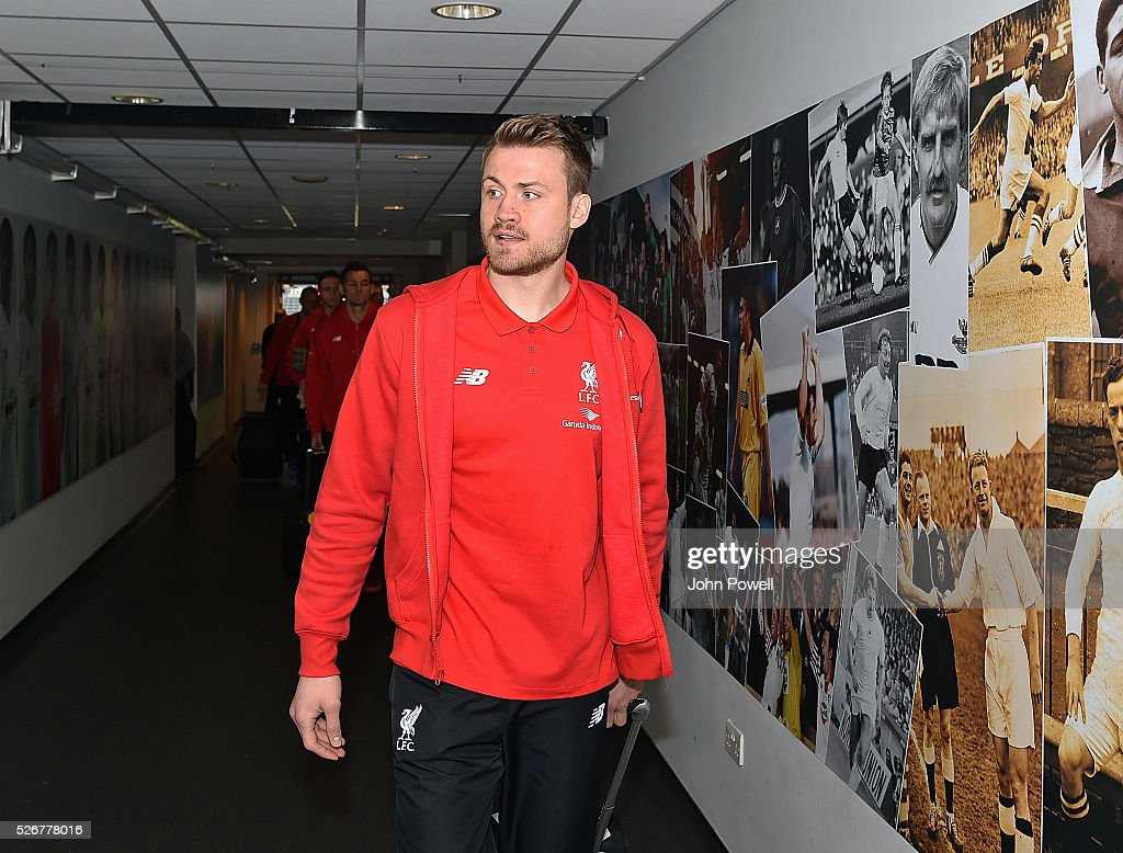 Simon Mignolet of Liverpool arrives before a Premier League match between Swansea City and Liverpool at the Liberty Stadium on May 01, 2016 in Swansea, Wales.