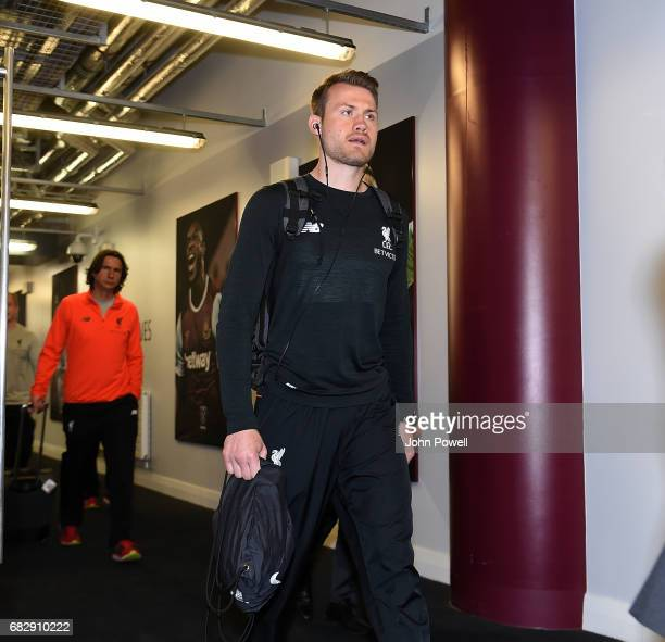 Simon Mignolet of Liverpool arrives before the Premier League match between West Ham United and Liverpool at London Stadium on May 14 2017 in...