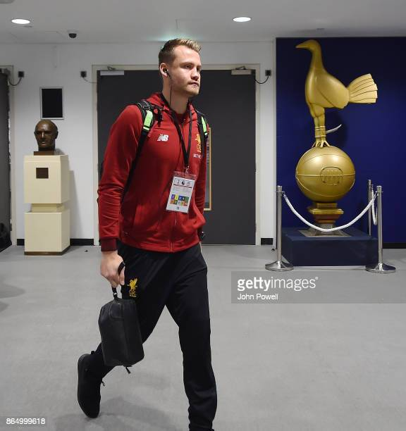 Simon Mignolet of Liverpool arrives before the Premier League match between Tottenham Hotspur and Liverpool at Wembley Stadium on October 22 2017 in...