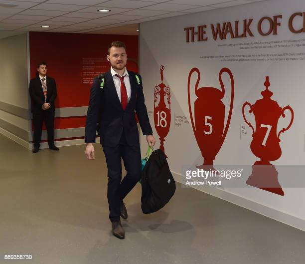 Simon Mignolet of Liverpool arrives before the Premier League match between Liverpool and Everton at Anfield on December 10 2017 in Liverpool England