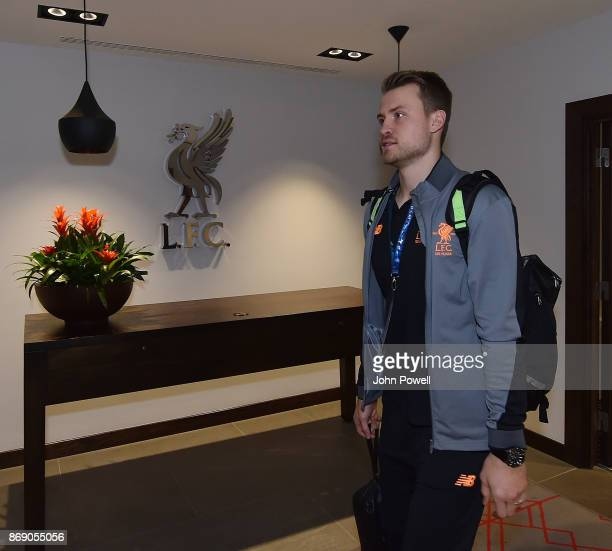 Simon Mignolet of Liverpool arrives before the UEFA Champions League group E match between Liverpool FC and NK Maribor at Anfield on November 1 2017...