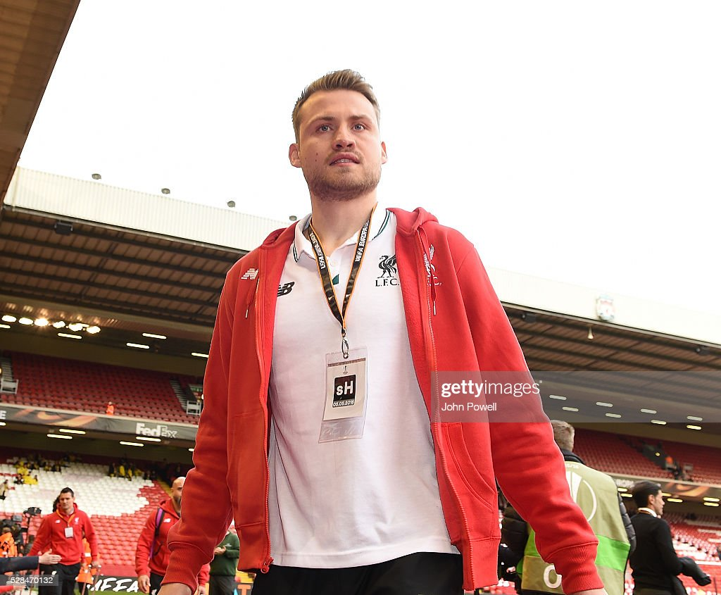 Simon Mignolet of Liverpool arrives before the UEFA Europa League Semi Final: Second Leg match between Liverpool and Villarreal CF at Anfield on May 05, 2016 in Liverpool, England.
