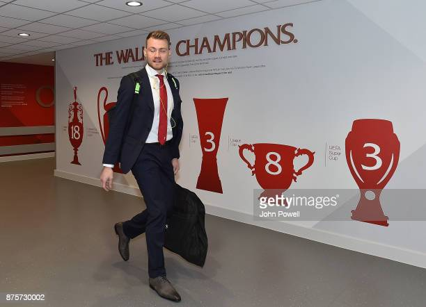 Simon MIgnolet of Liverpool arriving for the Premier League match between Liverpool and Southampton at Anfield on November 18 2017 in Liverpool...