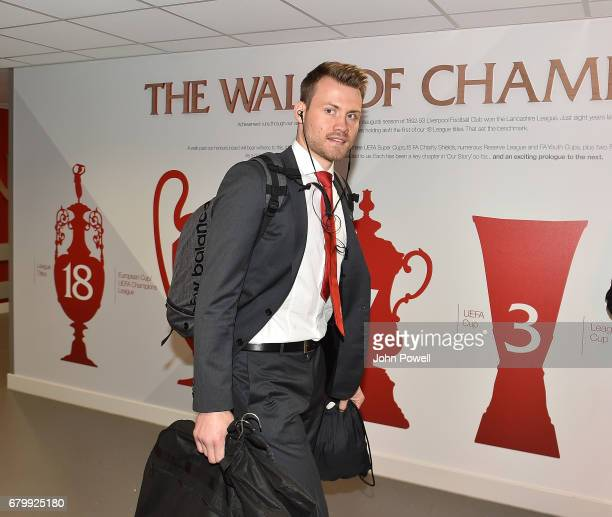 Simon Mignolet of Liverpool arrivng for the Premier League match between Liverpool and Southampton at Anfield on May 7 2017 in Liverpool England