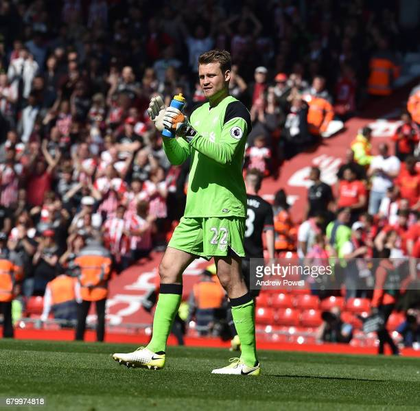 Simon Mignolet of Liverpool at the end of the Premier League match between Liverpool and Southampton at Anfield on May 7 2017 in Liverpool England