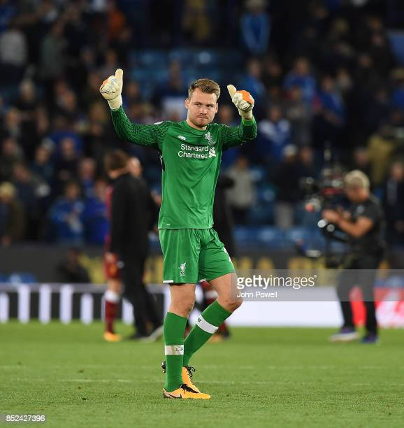 Simon MIgnolet of Liverpool at the end of the Premier League match between Leicester City and Liverpool at The King Power Stadium on September 23...