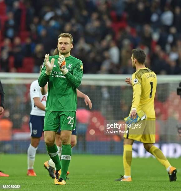 simon Mignolet of Liverpool at the end of the Premier League match between Tottenham Hotspur and Liverpool at Wembley Stadium on October 22 2017 in...
