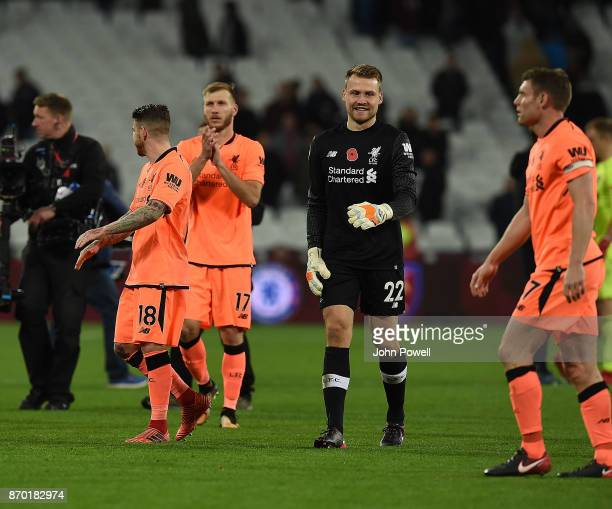 Simon Mignolet of Liverpool at the end of the Premier League match between West Ham United and Liverpool at London Stadium on November 4 2017 in...