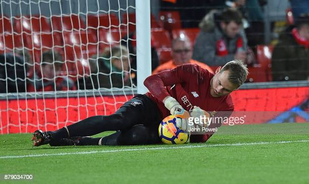 Simon Mignolet of Liverpool before the Premier League match between Liverpool and Chelsea at Anfield on November 25 2017 in Liverpool England