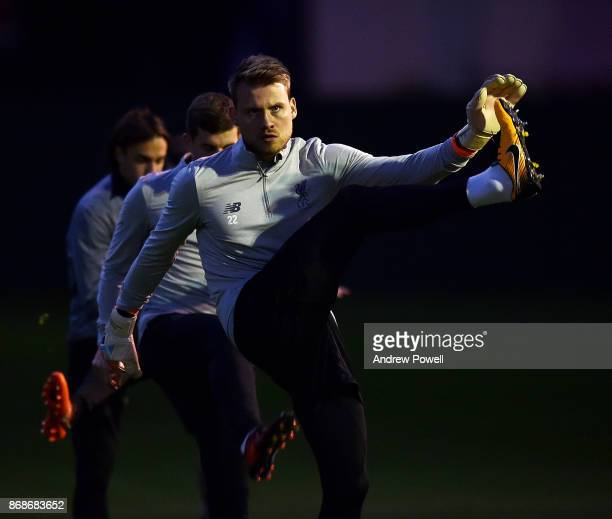 Simon Mignolet of Liverpool during a Liverpool training session at Melwood Training Ground on October 31 2017 in Liverpool England