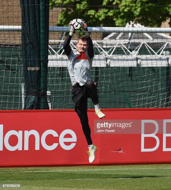 Simon Mignolet of Liverpool during a training session at Melwood Training Ground on May 5 2017 in Liverpool England