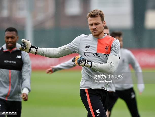 Simon Mignolet of Liverpool during a training session at Melwood Training Ground on May 12 2017 in Liverpool England