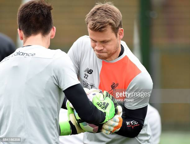 Simon Mignolet of Liverpool during a training session at Melwood Training Ground on May 17 2017 in Liverpool England