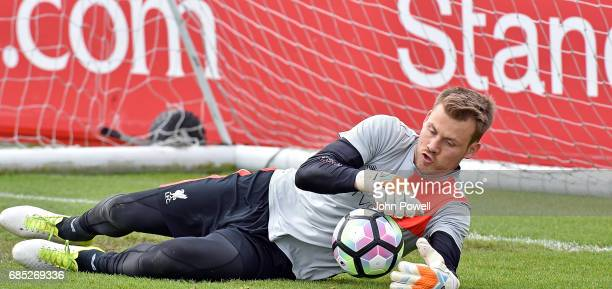 Simon Mignolet of Liverpool during a training session at Melwood Training Ground on May 19 2017 in Liverpool England