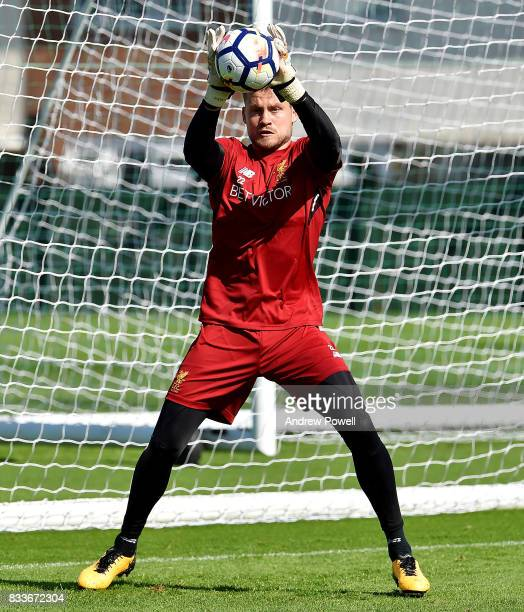 Simon Mignolet of Liverpool during a training session at Melwood Training Ground on August 17 2017 in Liverpool England