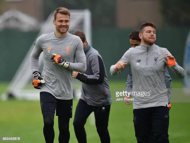 Simon Mignolet of Liverpool during a training session at Melwood Training Ground on September 25 2017 in Liverpool England