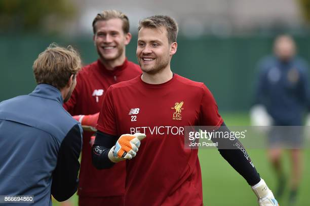 Simon Mignolet of Liverpool during a training session at Melwood Training Ground on October 26 2017 in Liverpool England